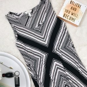 Soma Maxi Dress in Black, White and Tan Print